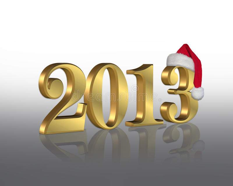 New Year 2013 with Santa hat royalty free stock images