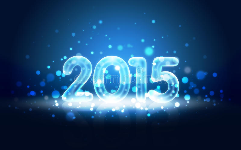 New Year 2015 Card with Neon Digits royalty free illustration