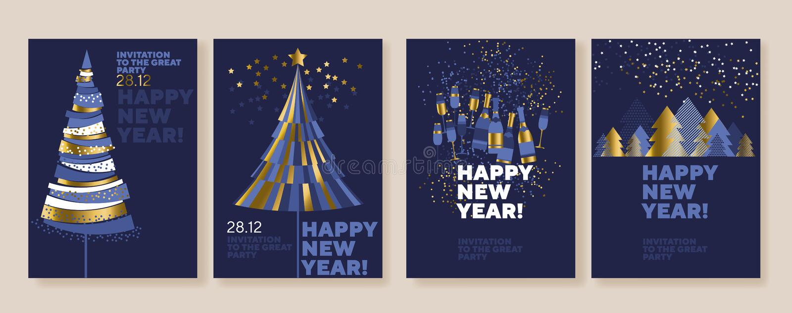New Year and abstract Christmas tree posters stock illustration