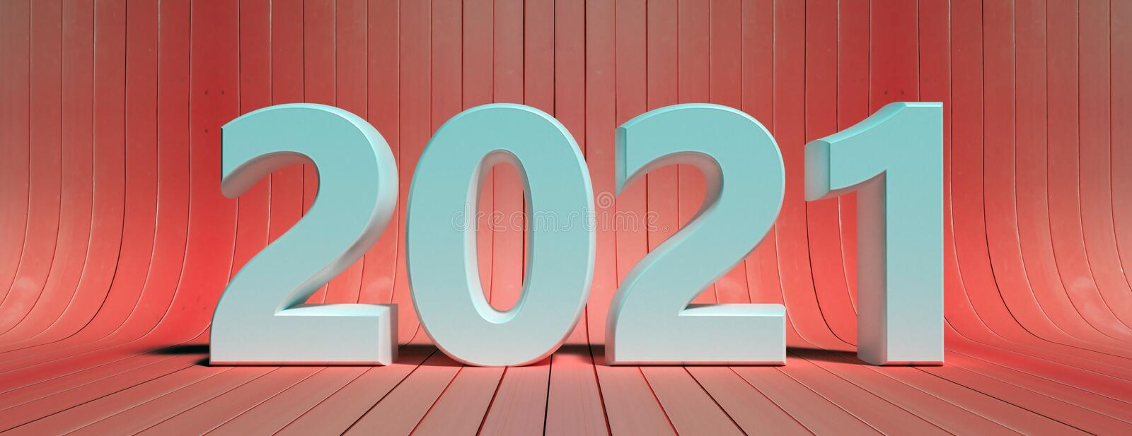 2021 New year against red wood background. 3d illustration royalty free illustration