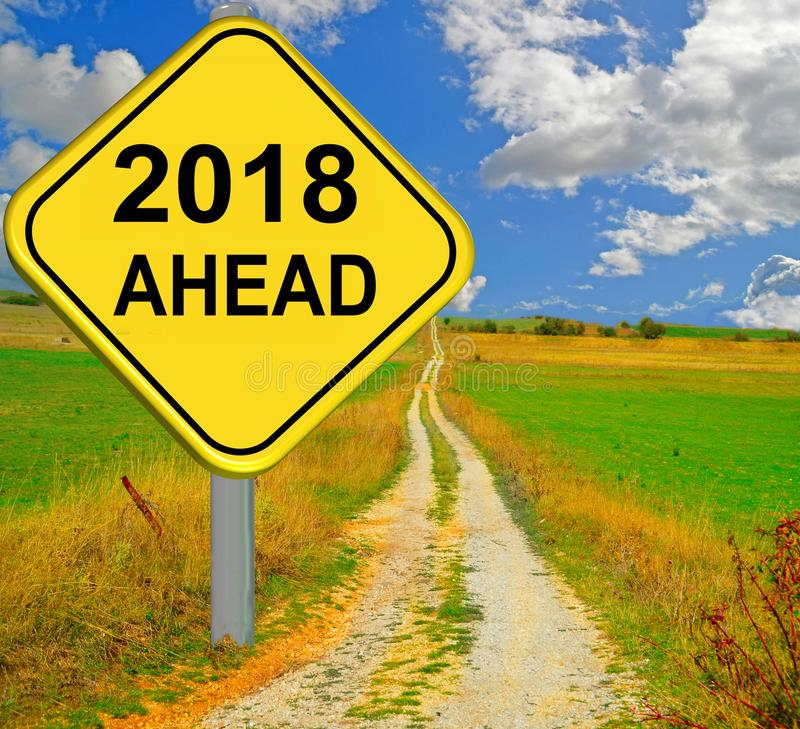 2018 new year ahead red road sign - 3d rendering. 2018 new year ahead yellow long road sign - 3d rendering stock images