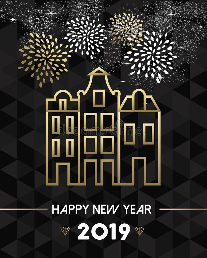New Year 2019 amsterdam netherlands travel gold. Happy New Year 2019 Amsterdam greeting card with Netherlands landmark traditional buildings in gold outline royalty free illustration