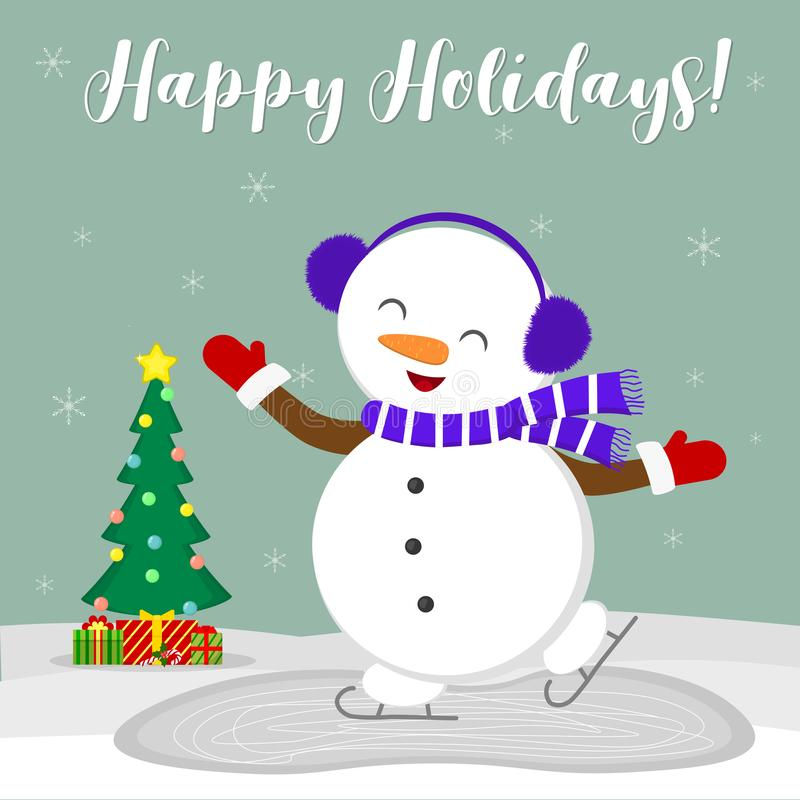 Free New Year And Christmas Card. Cute Snowman In Fur Headphones Skates On The Ice. Christmas Tree And Boxes With Gifts In Royalty Free Stock Images - 131471789