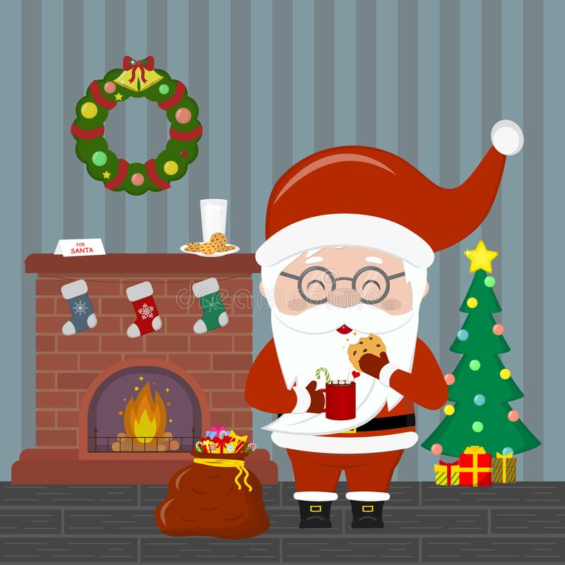 Free New Year And Christmas Card. Santa Claus Holding A Cup With Hot Chocolate And Cookies. Christmas Tree With Gifts, A Fireplace, A Stock Photos - 134766403