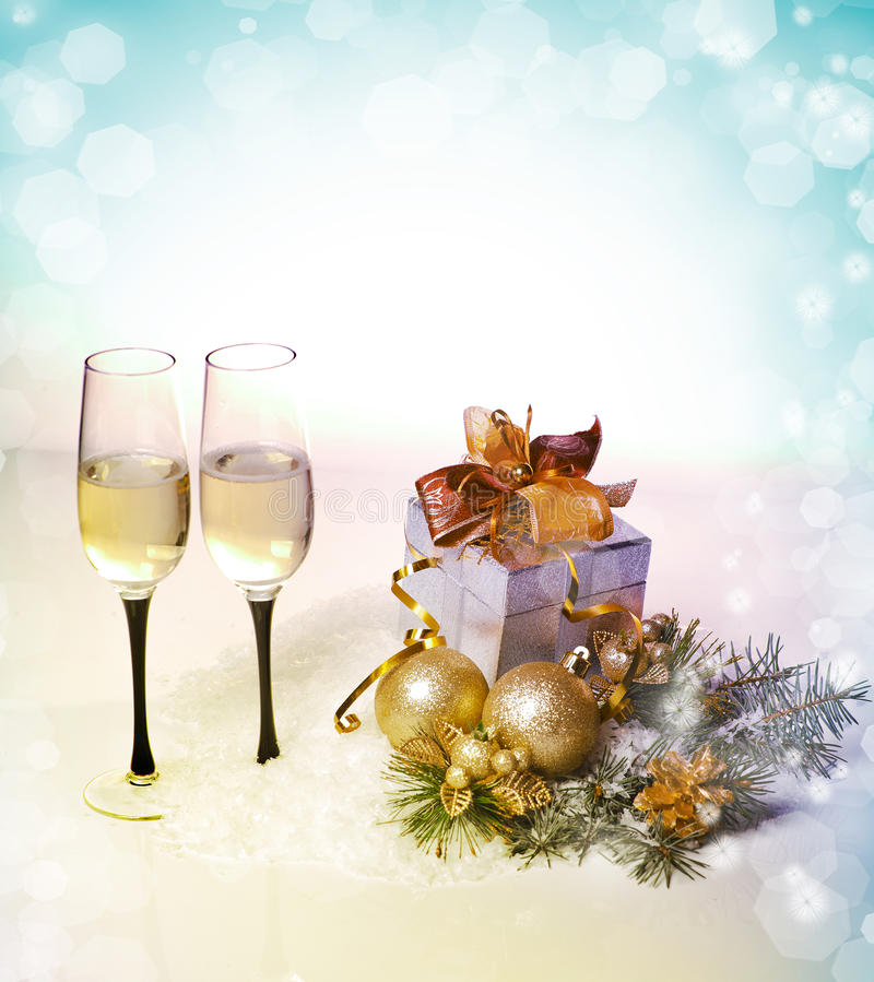 Free New Year And Christmas Celebration .Two Champagne Glasses In Holiday Decoration. Stock Photo - 28266360