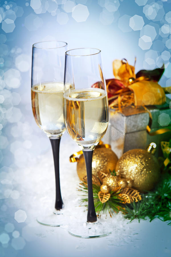 Free New Year And Christmas Celebration .Two Champagne Glasses In Holiday Decoration. Stock Images - 28266414