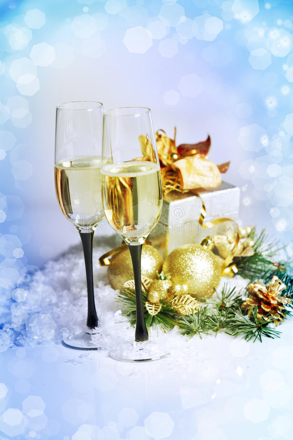 Free New Year And Christmas Celebration .Two Champagne Glasses In Holiday Decoration. Stock Image - 28266441
