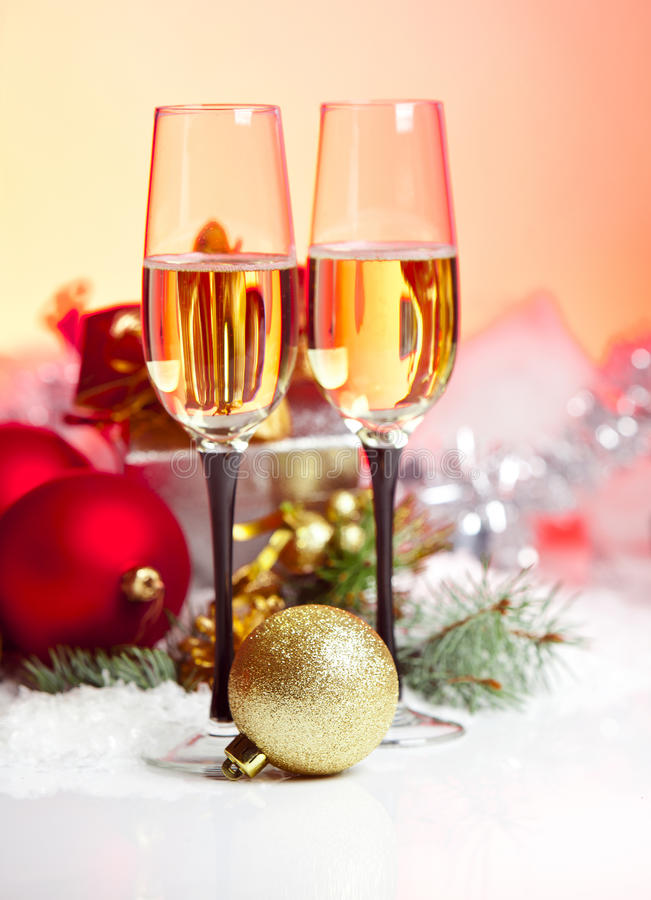 Free New Year And Christmas Celebration .Two Champagne Glasses In Holiday Decoration. Stock Photography - 28266532