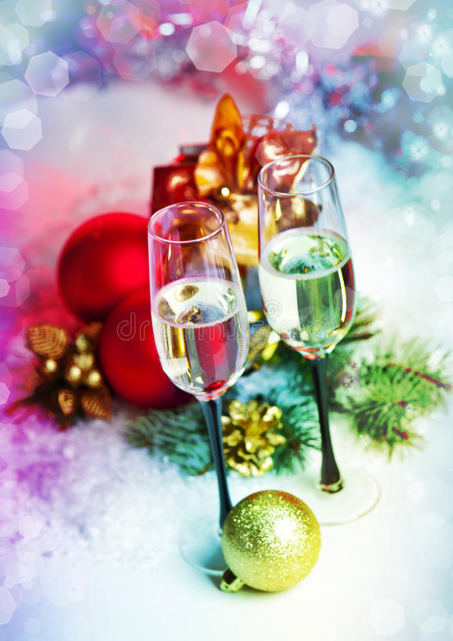 Free New Year And Christmas Celebration .Two Champagne Glasses In Holiday Decoration. Royalty Free Stock Photography - 28266537