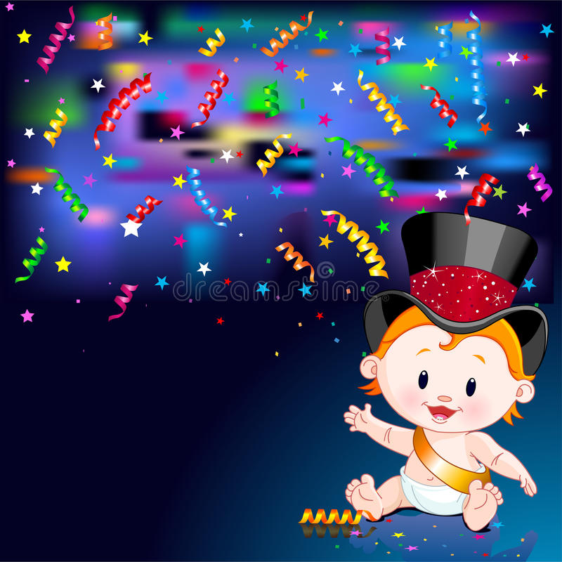 New Year Baby card. Celebrations! Illustration of New Year Baby and streaming party confetti stock illustration