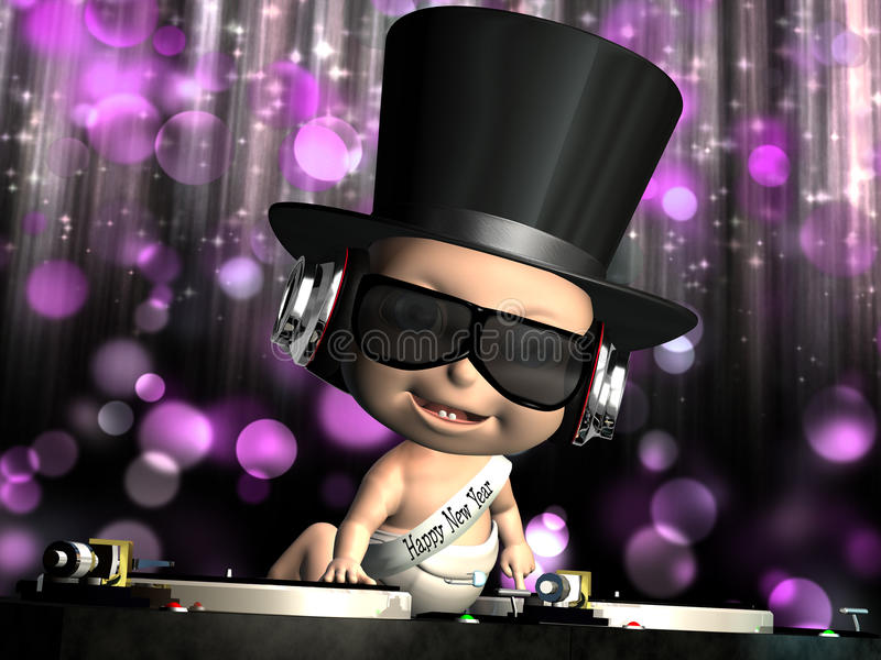 New Year Baby's In Da House. The New Year Baby is in Da House and mixing up some Christmas cheer. Turntables with vinyl albums. And disco lights in the stock illustration
