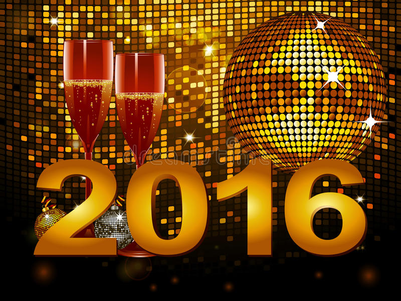 2016 New Year background with champagne glass and disco ball vector illustration