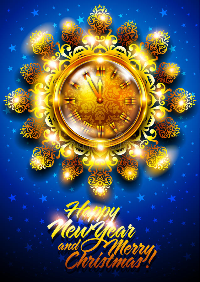 New Year background with clock vector illustration
