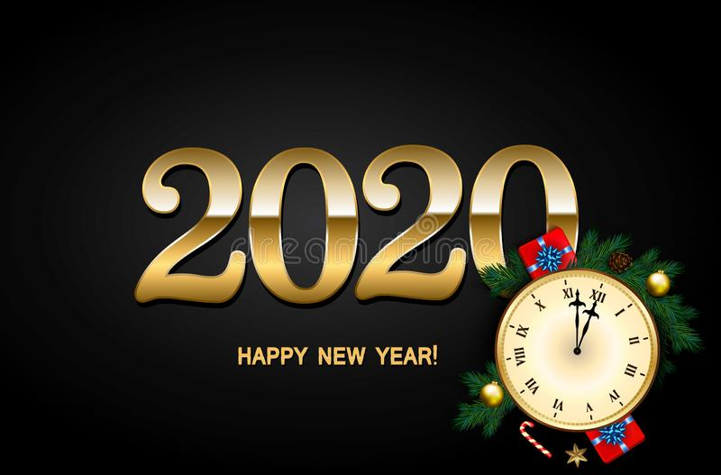 2020 New Year Background with clock, gift box, candy cane, pine branches decorated, gold stars and bubbles on black royalty free illustration