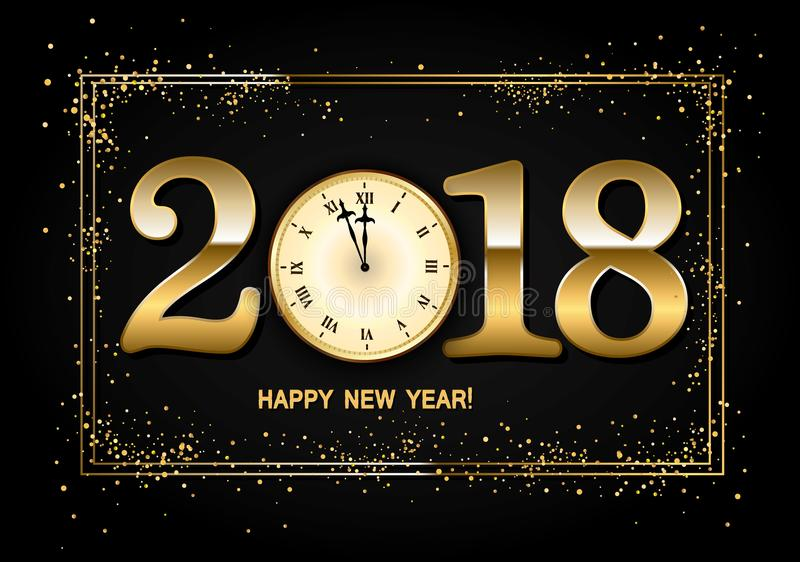 2018 New Year Background with clock and gold confetti. Vector i stock illustration