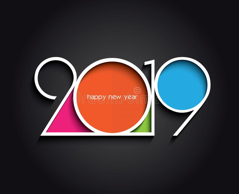 2019 New Year background creative design creating card. 2019 Happy New Year or Christmas background creative design for your greetings card, flyers, invitation stock illustration