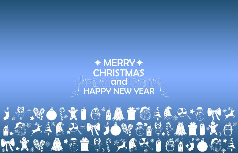New Year 2019 background with figures, Christmas toys, candy, Santa, candle on blue gradient background. New Year 2019 composition. Flat lay, top view of New vector illustration