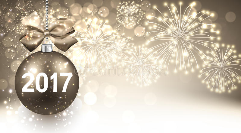 2017 New Year background with fireworks. 2017 New Year background with Christmas ball and fireworks. Vector illustration stock illustration