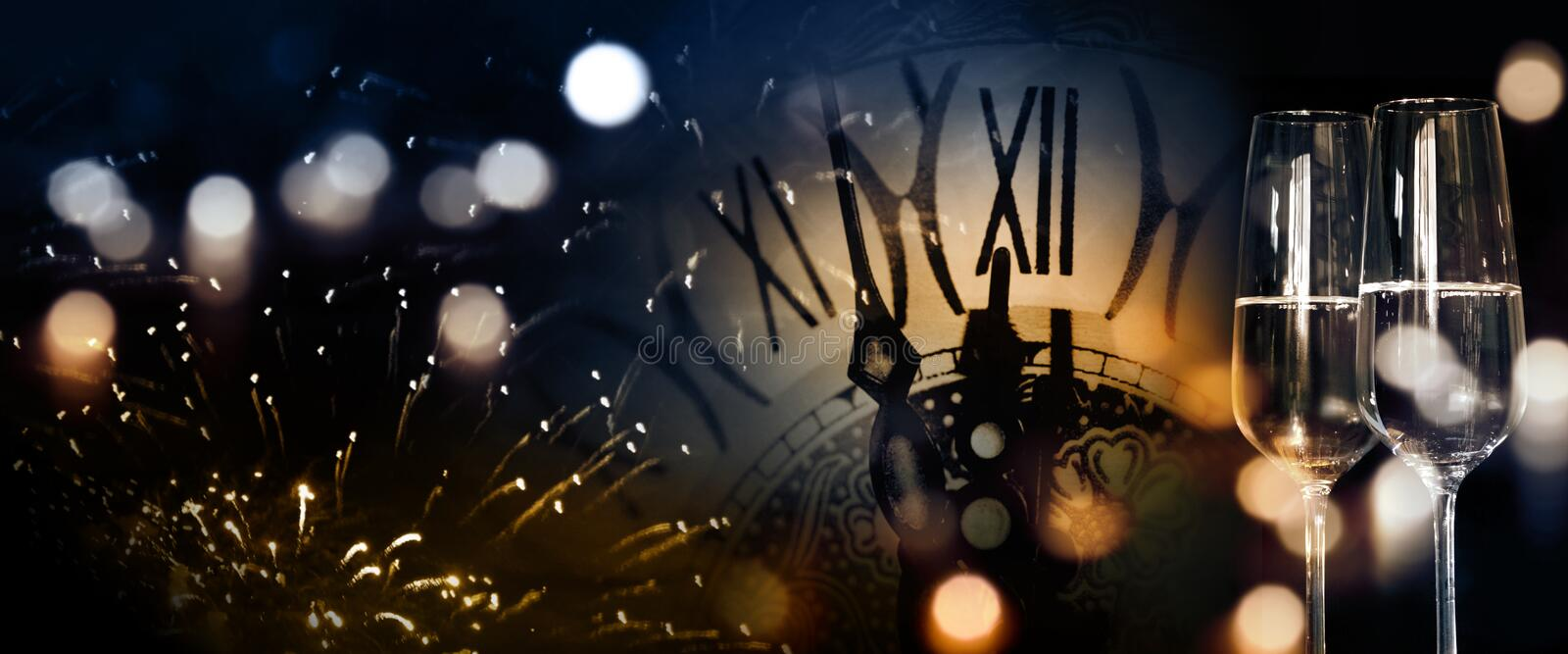 New Year background with fireworks and twelve o clock. New Year panorama background with fireworks and twelve o`clock for congratulations stock images