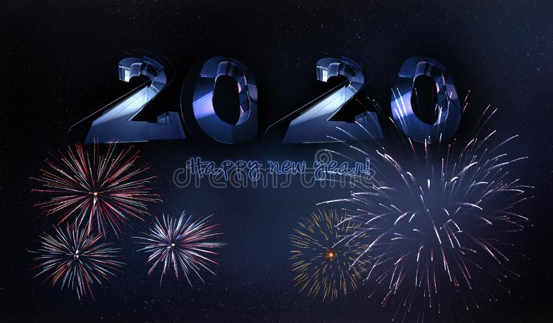 New Year background with fireworks vor 2020 year royalty free stock image