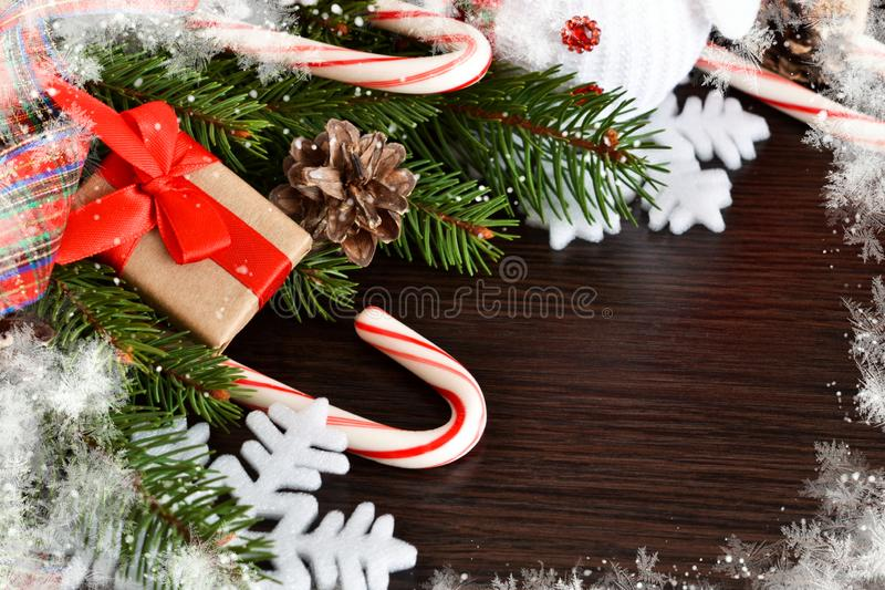New Year background with gifts, sweets and a snowman. Happy New royalty free stock photos