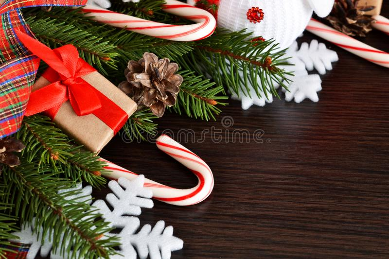 New Year background with gifts, sweets and a snowman. Happy New stock photo