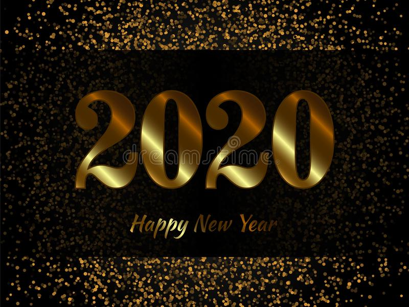 2020 New Year background with gold glitter confetti royalty free illustration