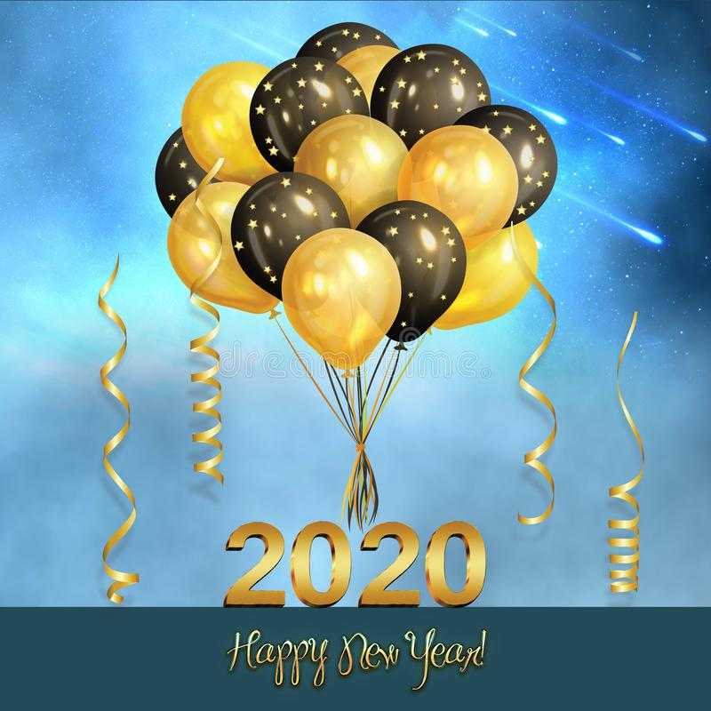 New Year background with golden balloons stock photos