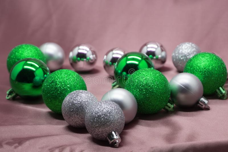 Download New Year Background With Grey And Pale Pink Christmas Tree  Decorations. Stock Image
