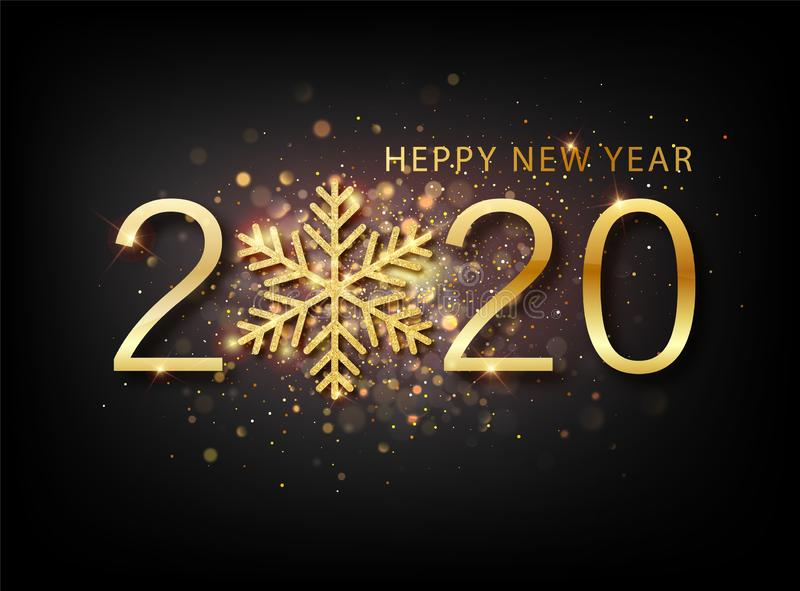2020 New year background. Holiday label with fallen golden glitter confetti over black backdrop. Calendar design stock photography