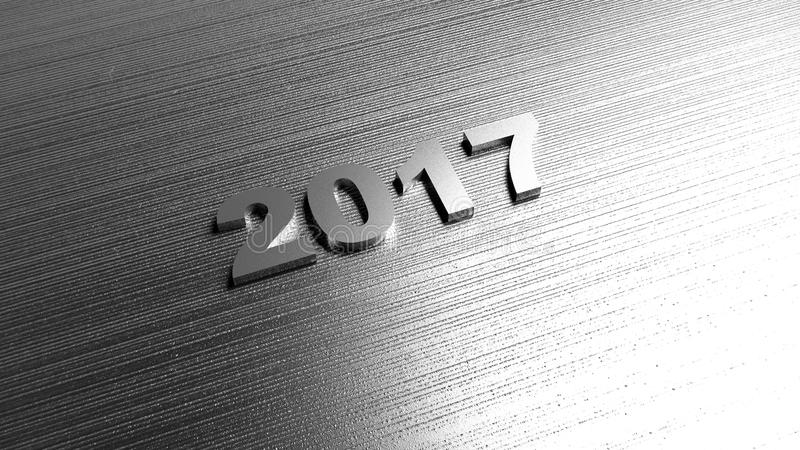 2017 New year background. Metal texture. 3D rendering. stock illustration