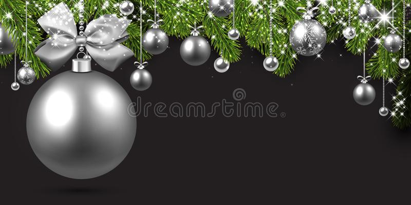 Grey background with silver Christmas ball. vector illustration
