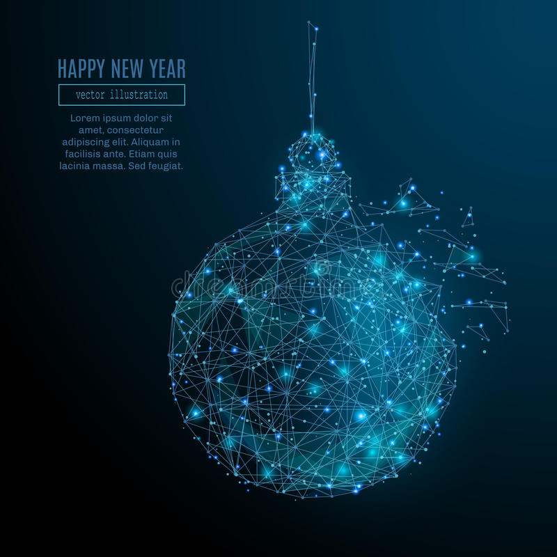 New year ball. Abstract image of a new year ball in the form of a starry sky or space, consisting of points, lines, and shapes in the form of planets, stars and stock illustration