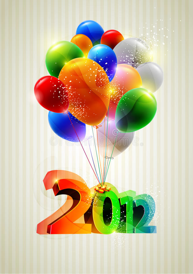 New year and balloons. stock illustration