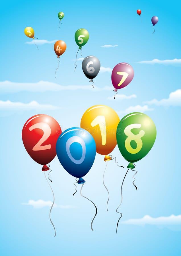 New year 2018 greetings ballooons vector illustration