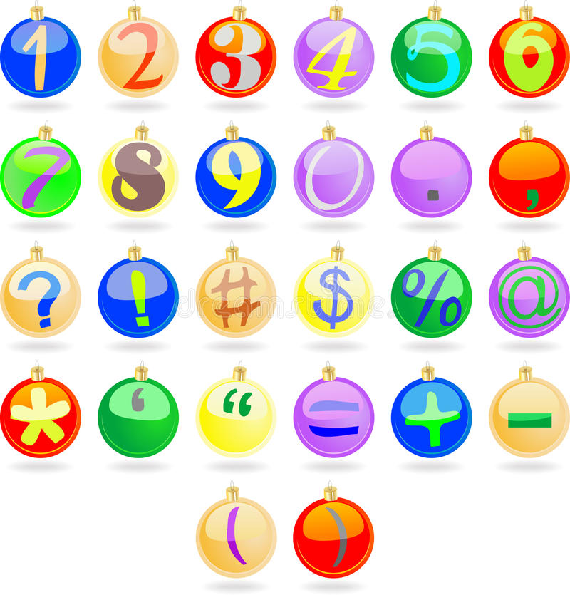 Download New Year Balls With Numbers Stock Vector - Image: 15277930