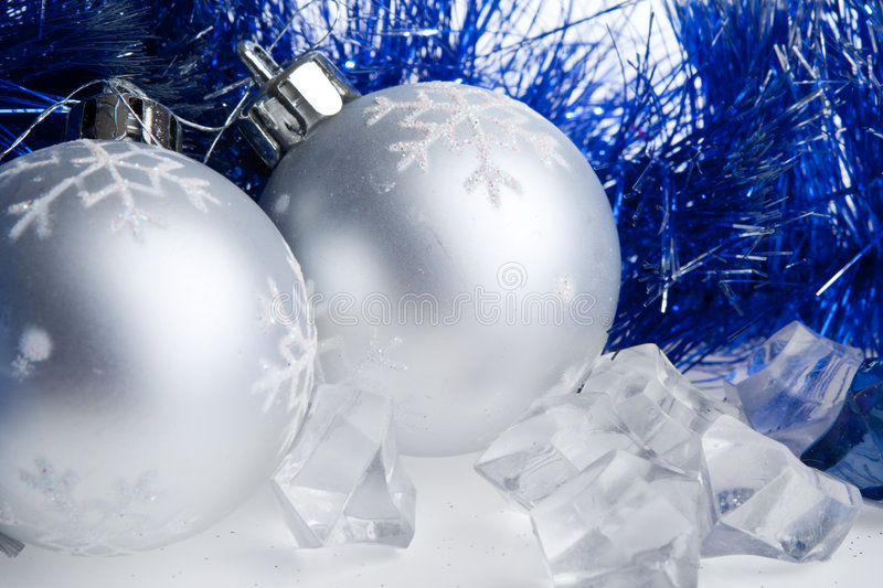 Download New Year Balls, Tinsel And Ice Cubes Stock Image - Image: 6972355