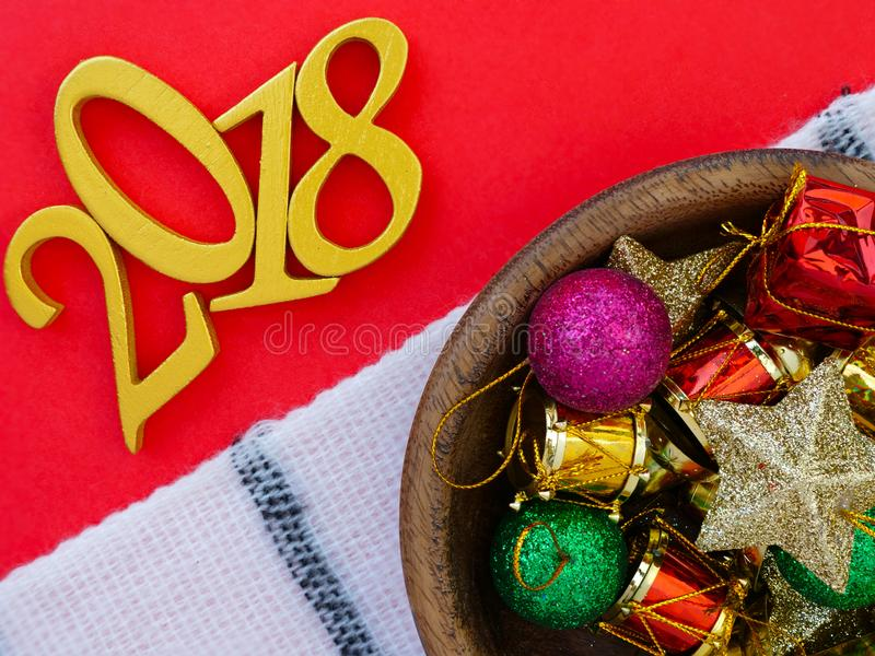 New Year 2018 Banner and Christmas Ornaments stock image