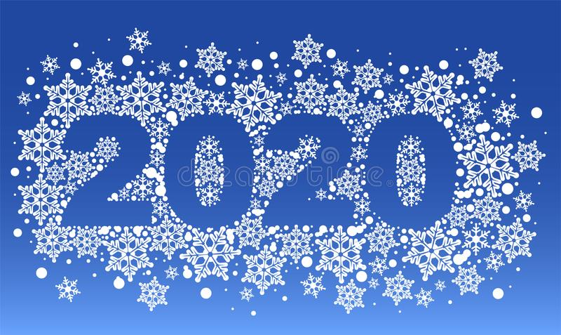 2020 new year blue background pattern of snowflakes stock illustration