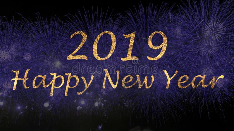 New Year blue color fireworks royalty free stock photo
