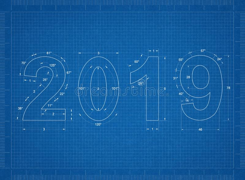 2019 new year Blueprint royalty free illustration
