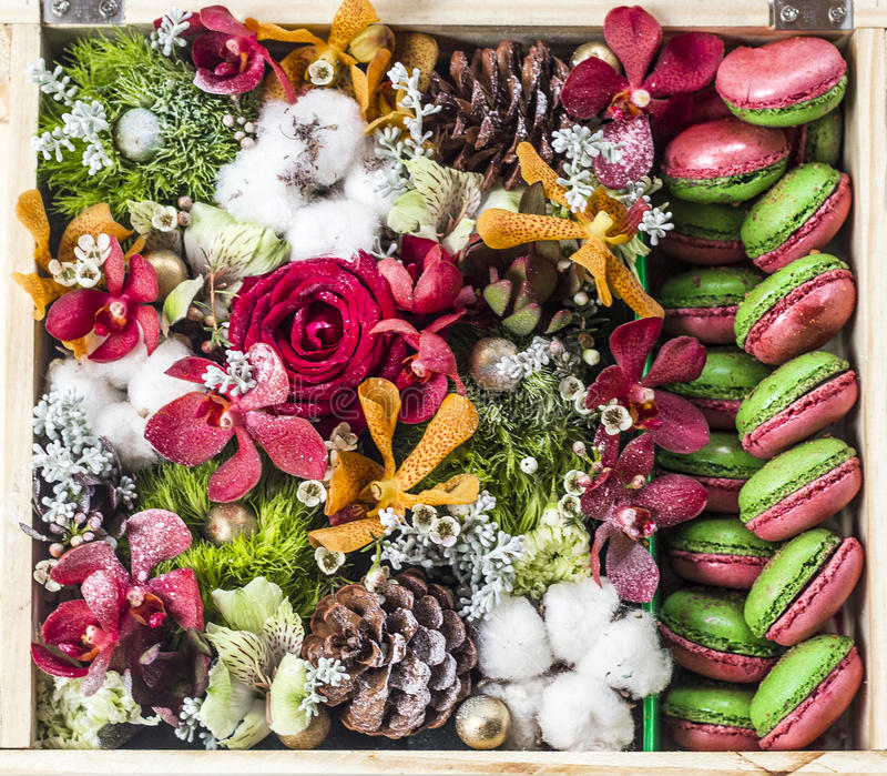 New Year bouquet in gift box. Phuket island stock photo
