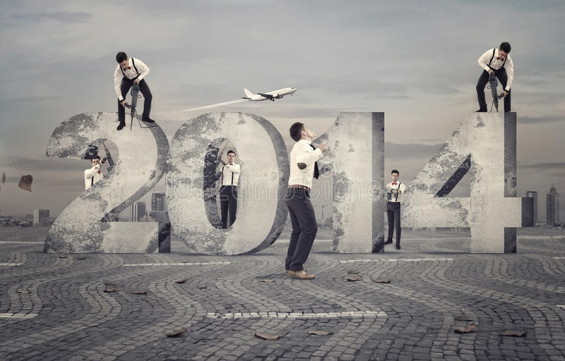 New year builders stock photography