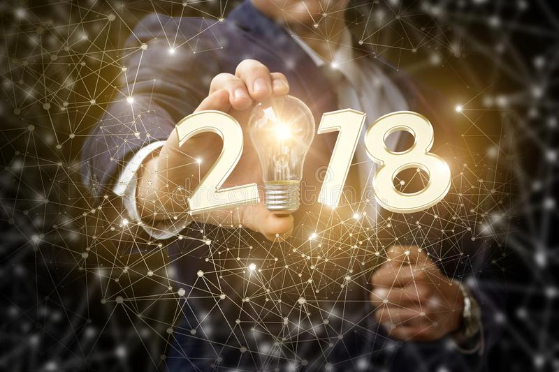 New year and a new business idea . New year and a new business idea on the background network stock image