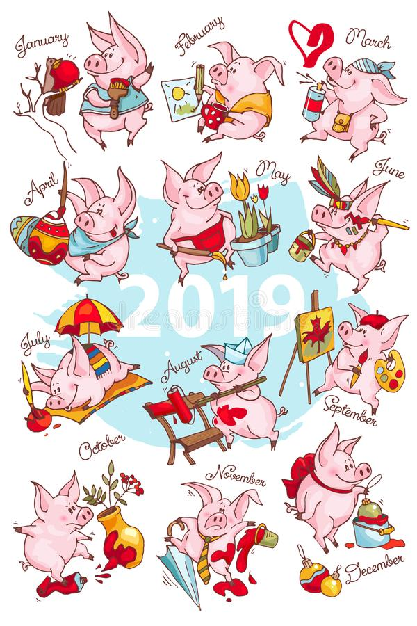 New Year 2019. Calendar cover. Creative calendar with cute pigs. Concept, vector vertical editable template. Symbol of the year in. The Chinese calendar vector illustration