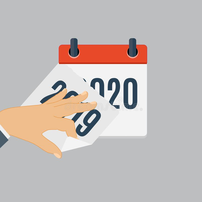 2020 New Year Calendar Flat Daily Icon Template. Vector Illustration Emblem. Element of Design for Decoration Office stock illustration