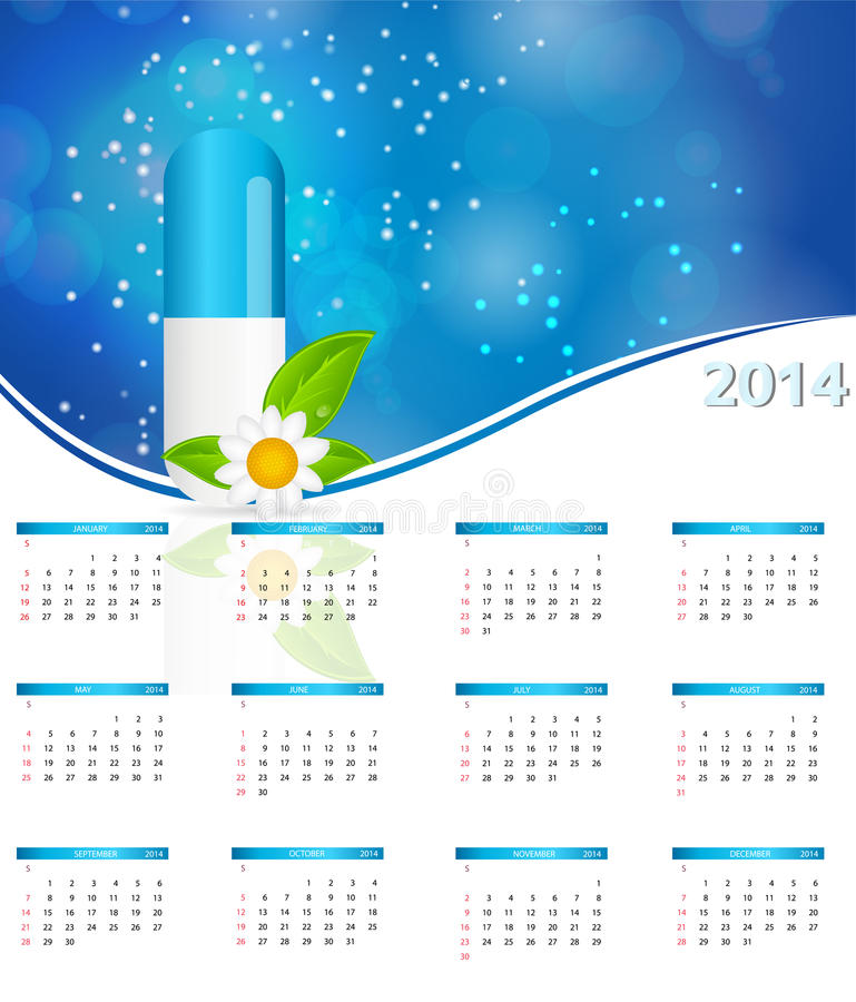 Download 2014 New Year Calendar In Medical Style Vector Stock Image - Image: 31682211