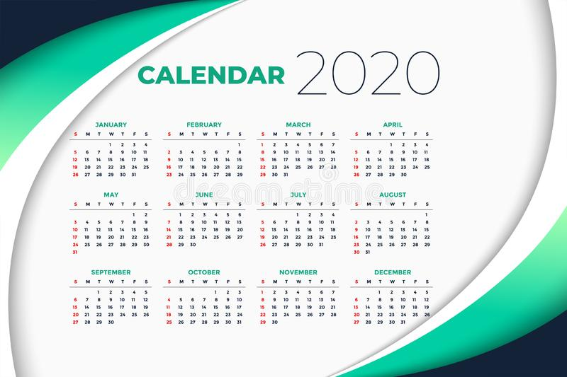 2020 new year calendar template in business style royalty free stock images