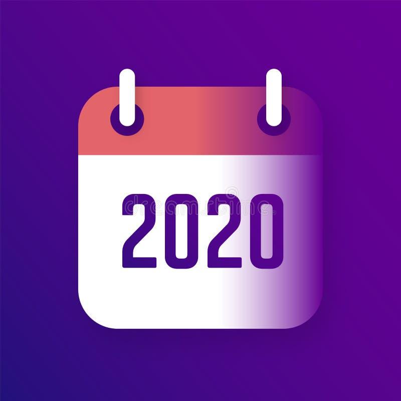 New Year 2020 Calendar Vector Icon stock photos
