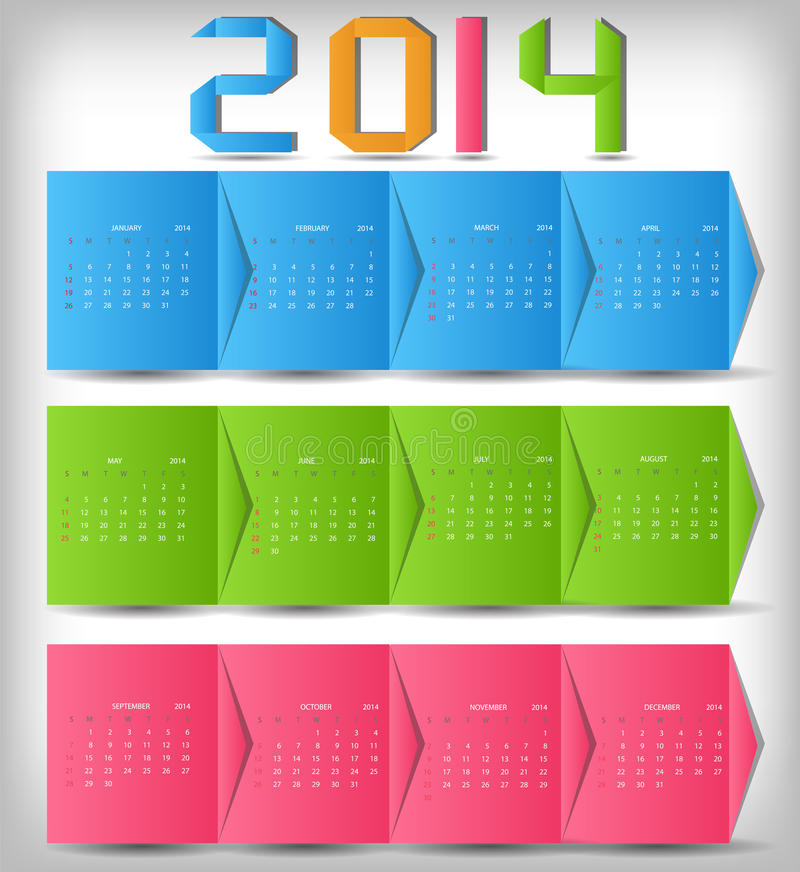 Download 2014 New Year Calendar Vector Illustration Stock Image - Image: 31682215